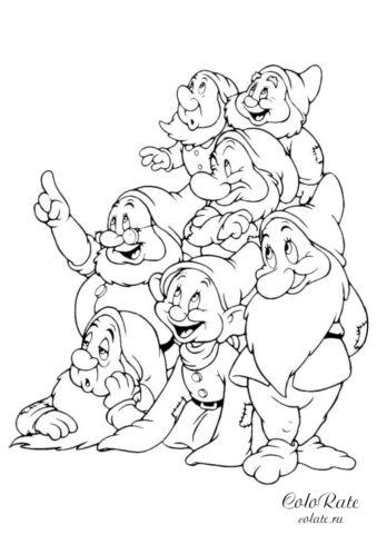 Разукрашка 7 веселых гномов для детей