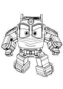 Альф готовится к бою - бесплатная раскраска из мультфильма Роботы-поезда скачать и распечатать