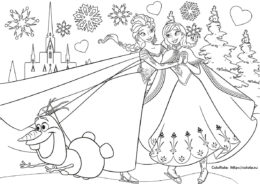 Бесплатная разукрашка - Анна и Эльза на катке - Frozen