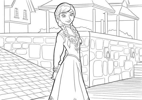 Раскраска с принцессой Анной на площади