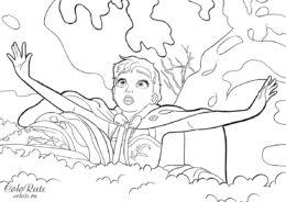 Анна под снегом - бесплатная раскраска - Холодное сердце (Frozen)