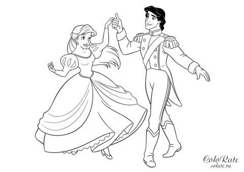 Ариэль и Эрик - раскраска для печати на А4