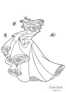 Аврора кружится в танце - распечатать на листах формата А4 раскраску