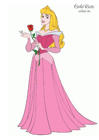 Раскраска Принцесса Аврора с розой распечатать | Спящая ...