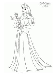 Disney - спящая красавица - бесплатная раскраска для девочек