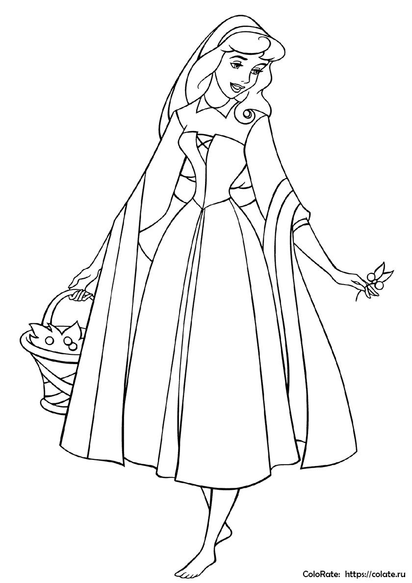раскраска принцесса аврора с розой распечатать спящая