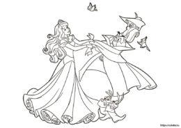 Спящая красавица танцует с животными раскраска для девочек