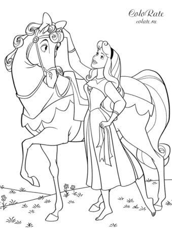 Аврора ухаживает за лошадью - распечатать на А4 бесплатную раскраску