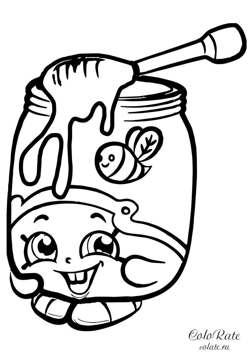 Раскраска Баночка мёда из Шопвилля распечатать | Шопкинс