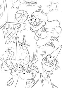Баскетбол с обитателями леса - распечатать раскраску из мультфильма Гравити Фолз