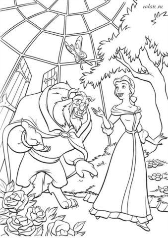 Раскраска для девочек - Красавица и Чудовище в саду