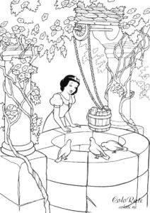 Белоснежка набирает воду - бесплатная раскраска для девочек
