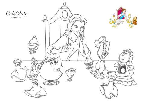 Беседа за столом - разукрашка из мультфильма Красавица и чудовище