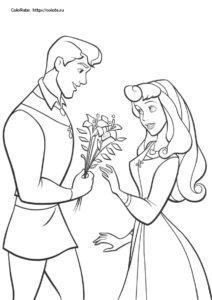 Букет для принцессы Авроры - скачать раскраску для детей
