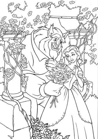 Филипп дарит Белль цветы - раскраска по мультику Красавица и чудовище