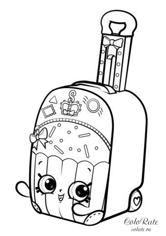 Шопкинс - раскраска с чемоданом для кругосветного путешествия
