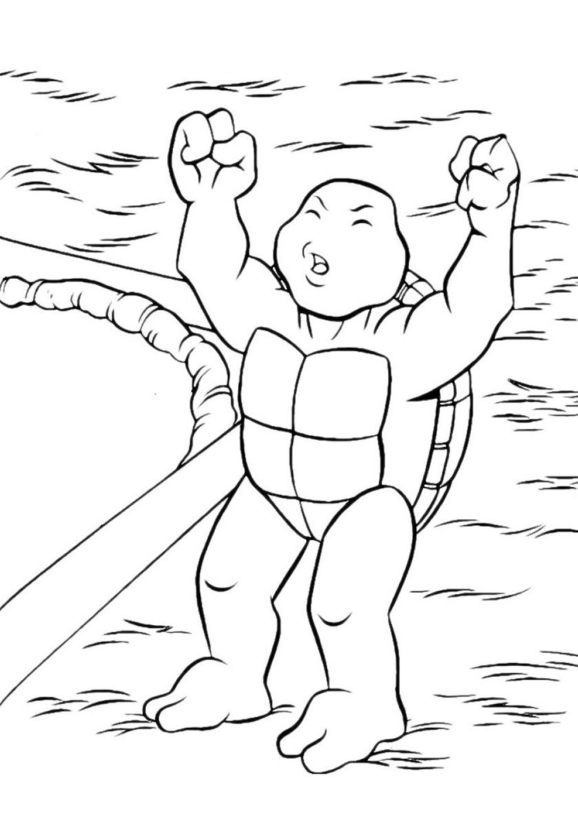 Раскраска Черепашка-малыш распечатать | Черепашки-ниндзя