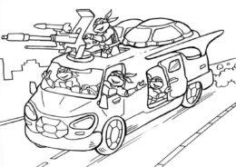 Черепашки-ниндзя на боевом фургоне раскраска распечатать на А4