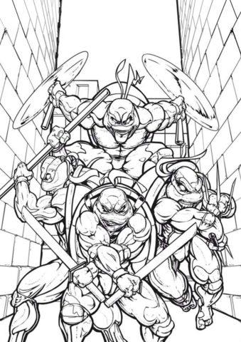 Черепашки-ниндзя в переулке - раскраска для мальчиков