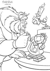 Чудовище и жители замка - раскраска из мультфильма Disney Красавица и Чудовище