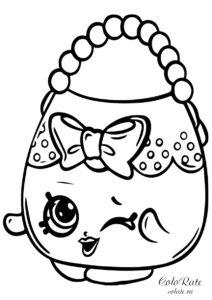 Шопкинс - раскраска с женской сумочкой