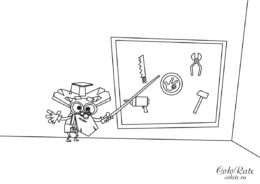 Дедус учит фиксиков - разукрашка из мультика Фиксики распечатать на листах формата А4