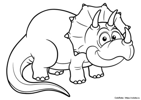 Детеныш трицератопса - бесплатная раскраска с динозавром для детей