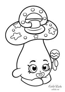Шопкинс - раскраска с детской соской Дум Ми