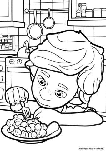 Детская раскраска - ДимДимыч и брокколи - из мультфильма Фиксики скачать и распечатать