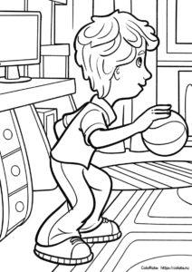 ДимДимыч играет в баскетбол - детская разукрашка