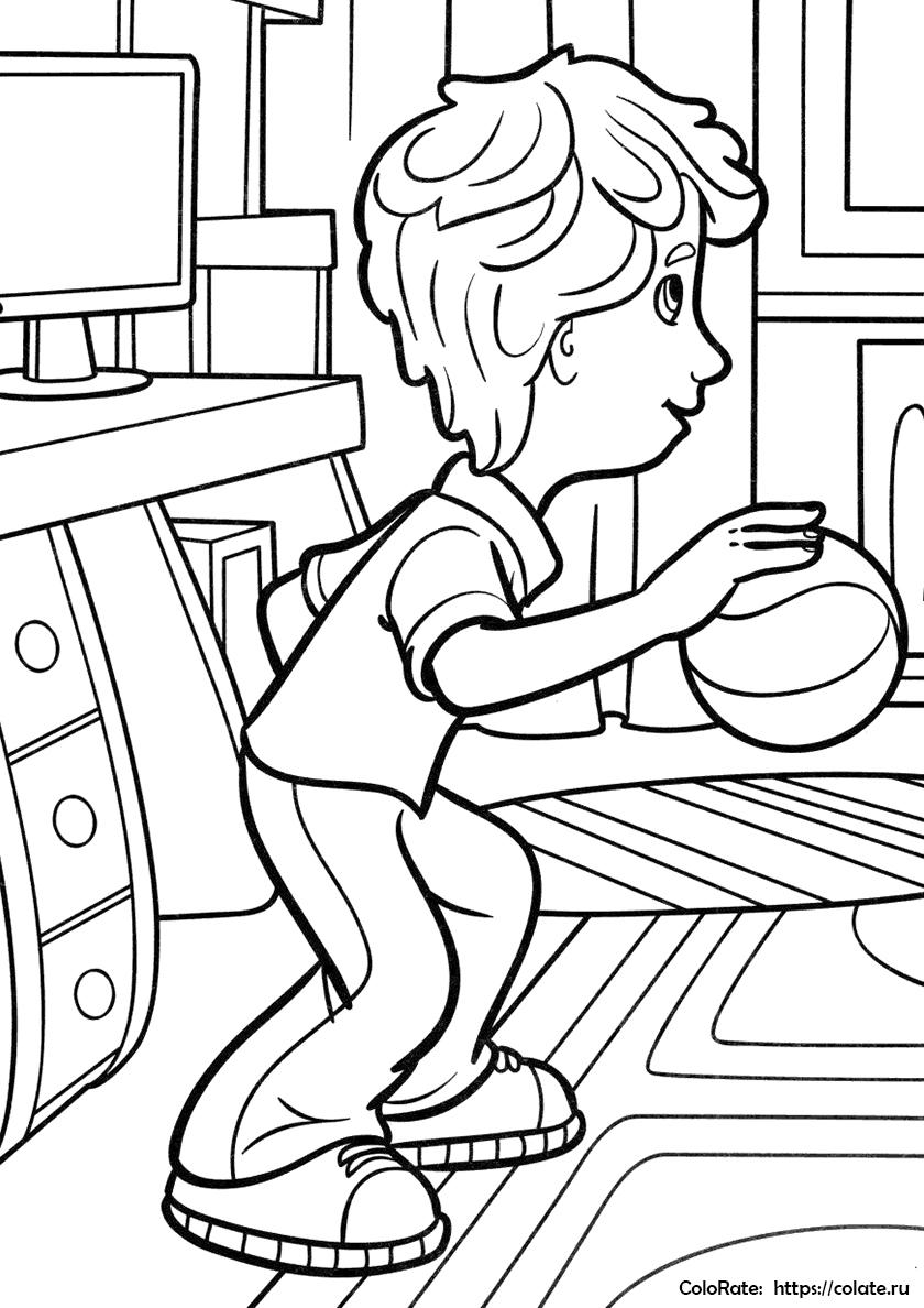 раскраска димдимыч играет в баскетбол распечатать фиксики