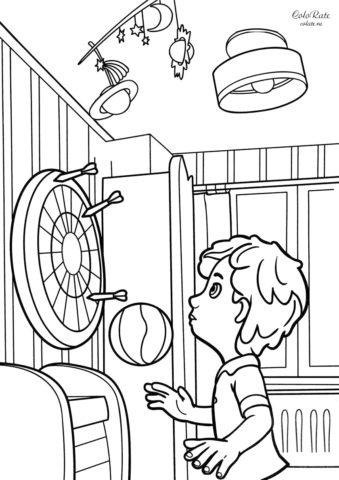 ДимДимыч играет в дартс - детская разукрашка распечатать на А4