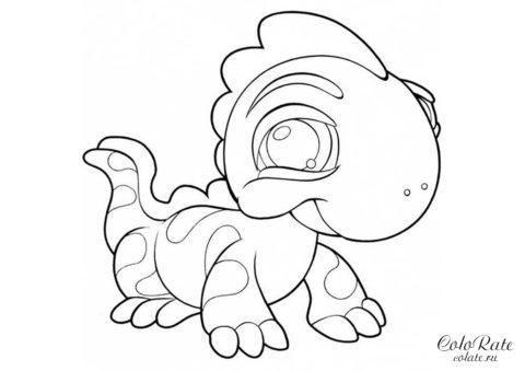 Раскраска Динозаврик-малыш бесплатно