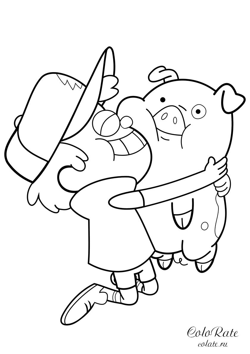 Раскраска Диппер обнимает Пухлю распечатать   Гравити Фолз