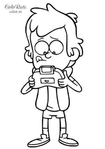 Раскраска Диппер за игрой - бесплатно для детей