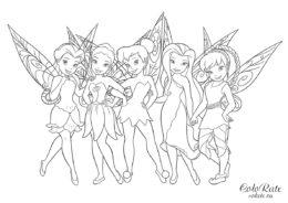 раскраски динь динь и феи Disney для девочек распечатать