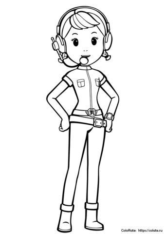 Диспетчер Джин - бесплатная разукрашка - Робокар Поли