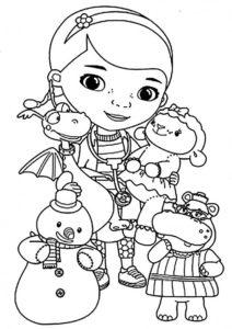 Док в компании друзей - бесплатная раскраска для детей - скачать и распечатать