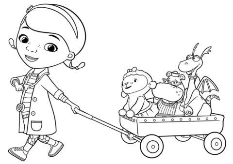 Доктор Плюшева с друзьями - детская разукрашка из мультфильма Доктор Плюшева распечатать на листах формата А4