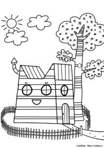 Домик трех котов - скачать и распечатать раскраску бесплатно