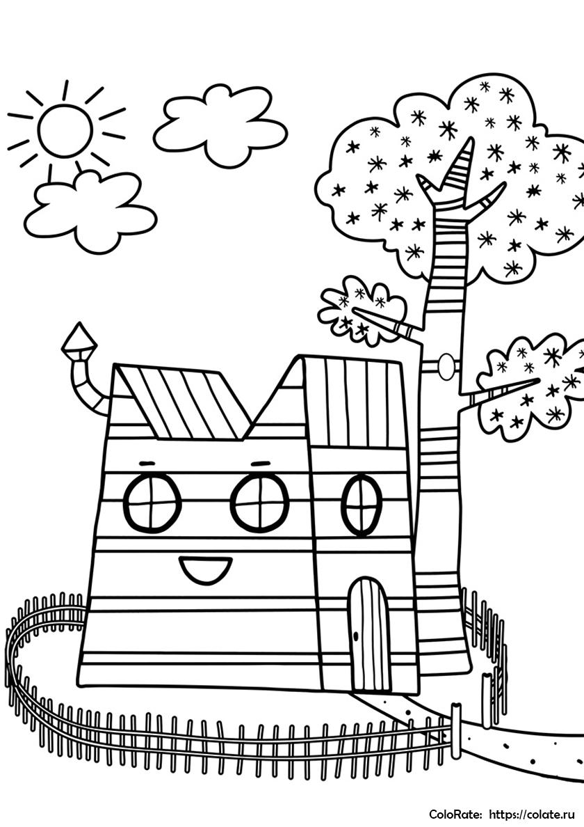 Раскраска Домик трех котов распечатать | Три кота