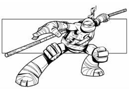 Раскраска Донателло для мальчиков - Черепашки-ниндзя