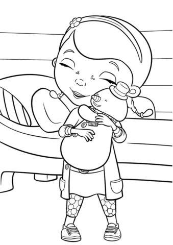 Раскраска Дотти и снеговик Чилли - Доктор Плюшева