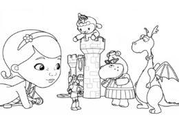 Дотти с игрушками - Доктор Плюшева - раскраска для девочек