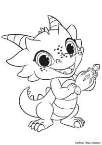 Дракончик Назбу - раскраска для детей - Шиммер и Шайн