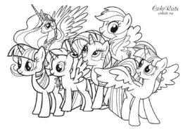Раскраска Май литл пони: Дружба - это чудо распечатать на А4