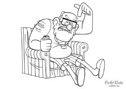 Дядя Стэн в кресле - раскраска по мультику Гравити Фолз