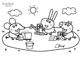 Разукрашка по Свинке Пеппе - дети в песочнице