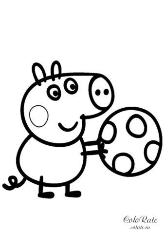 Джордж играет в мяч - разукрашка по мультику Свинка Пеппа
