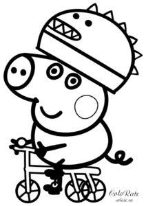 Раскраска Джорджа на велосипеде из мультфильма про Свинку Пеппу